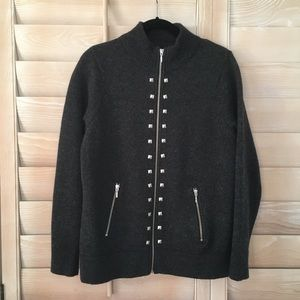 Cynthia Rowley Gray Studded Zipper Cardigan